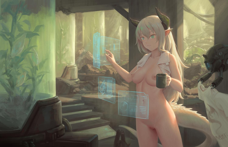 bigrbear blue_eyes breasts horns long_hair nipples nude original pointed_ears pussy robot towel uncensored white_hair