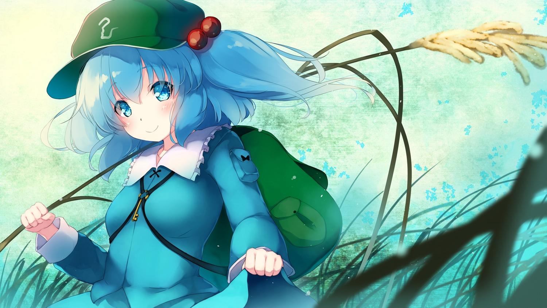 aqua_eyes aqua_hair blush gengetsu_chihiro hat kawashiro_nitori long_hair skirt skirt_lift touhou