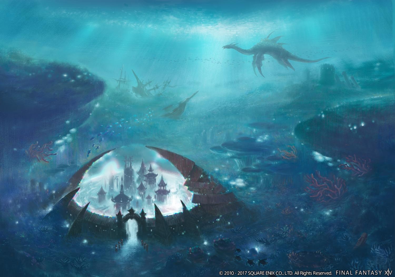 animal building final_fantasy final_fantasy_xiv fish ruins square_enix underwater water watermark