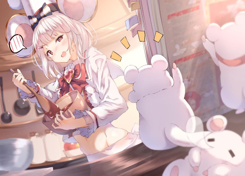 animal animal_ears chocolate granblue_fantasy mouse mousegirl short_hair ukiwakisen valentine vikala_(granblue_fantasy) white_hair