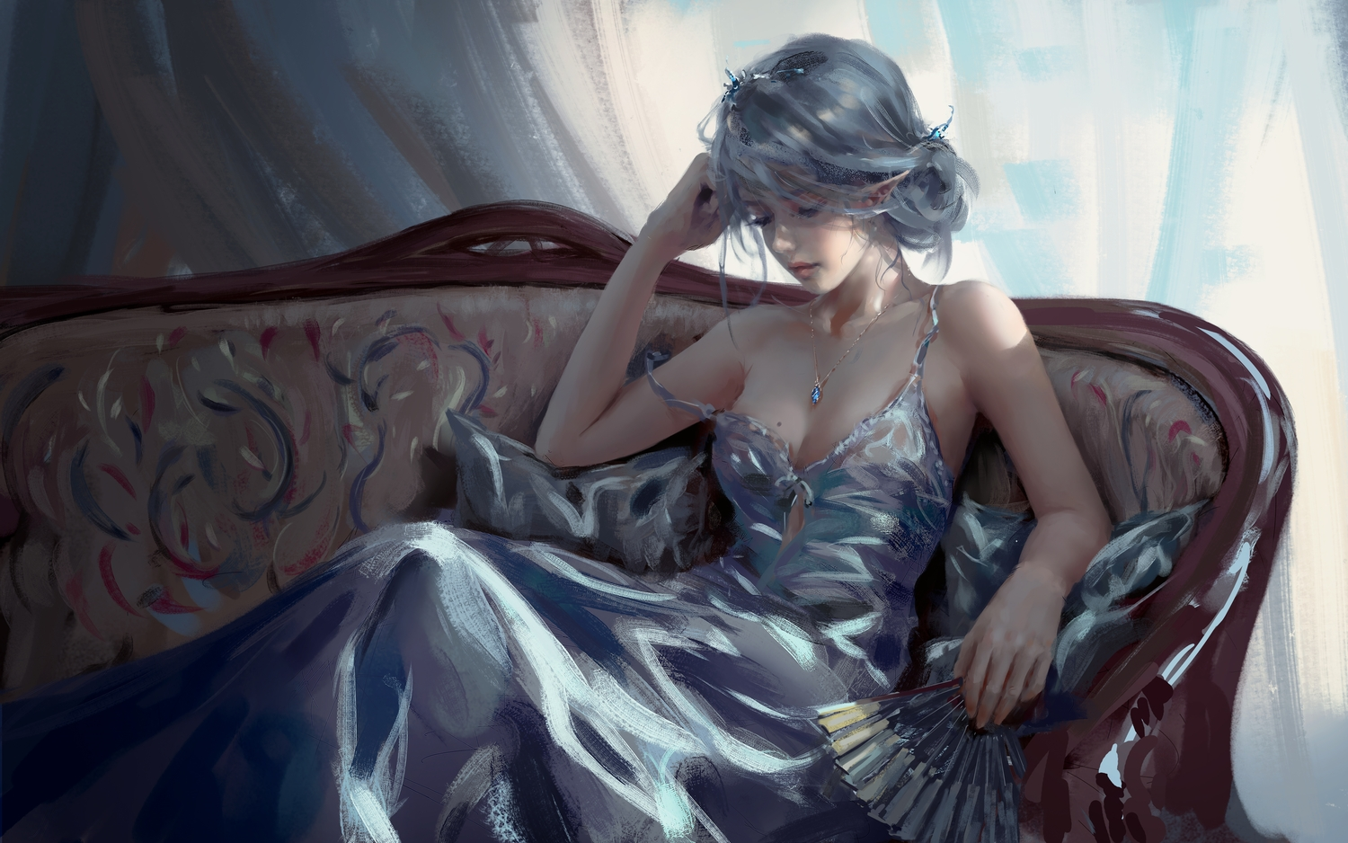 breasts cleavage couch dark dress fan ghostblade gray_hair necklace no_bra pointed_ears princess_yan realistic tiara wlop