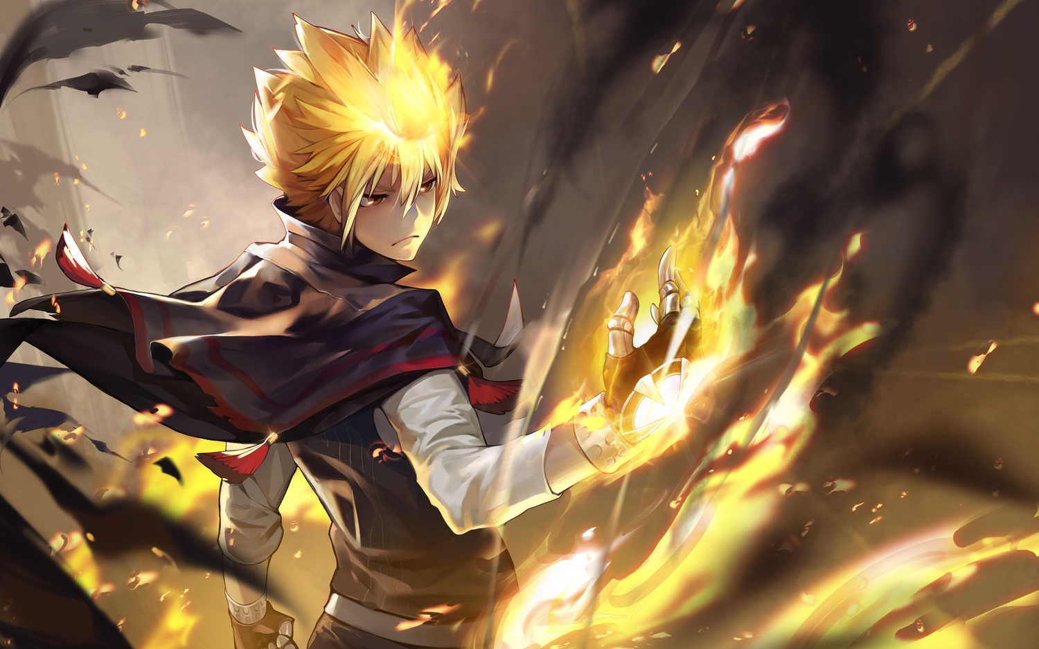 all_male blonde_hair cape fire giotto gloves katekyou_hitman_reborn male oop short_hair
