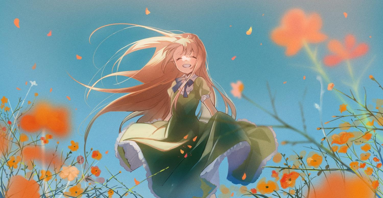blonde_hair bow dress flowers long_hair omutatsu original skirt_lift sky