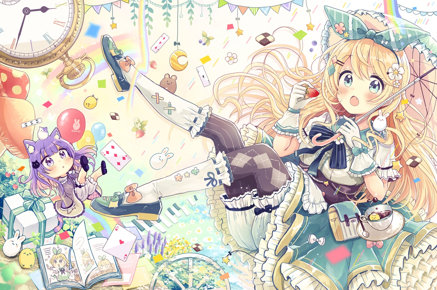 2girls alice_(wonderland) animal animal_ears aqua_eyes bird blonde_hair bloomers blush book bow bunny catgirl chibi drink fang food fruit gloves headband kneehighs lolita_fashion original pantyhose purple_eyes purple_hair sakura_oriko strawberry tail umbrella