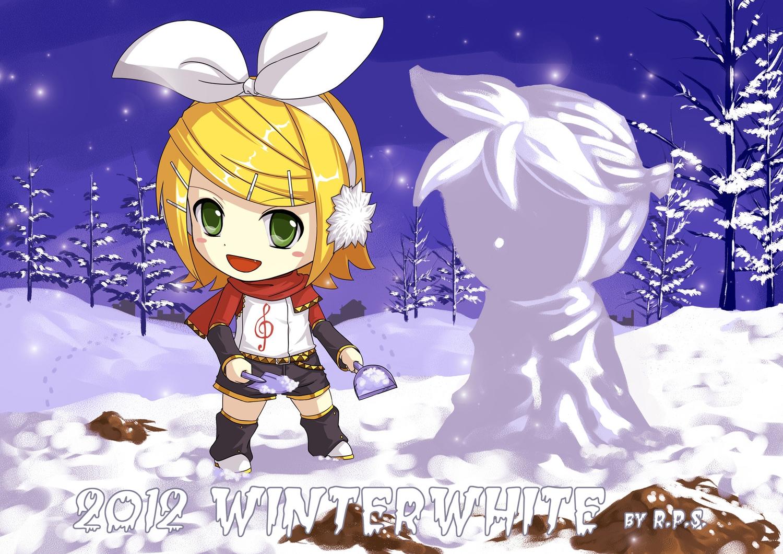 chibi crazypen kagamine_len kagamine_rin scarf snow snowman vocaloid winter