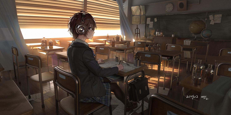 3d brown_eyes brown_hair drink headphones kryp132 original pantyhose paper scenic school_uniform short_hair signed skirt