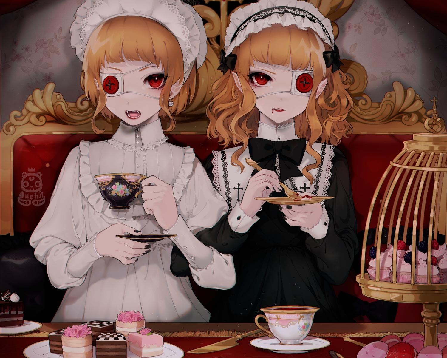 blonde_hair cake cropped drink eyepatch food goth-loli headdress lolita_fashion male oncha original pointed_ears red_eyes short_hair trap vampire watermark