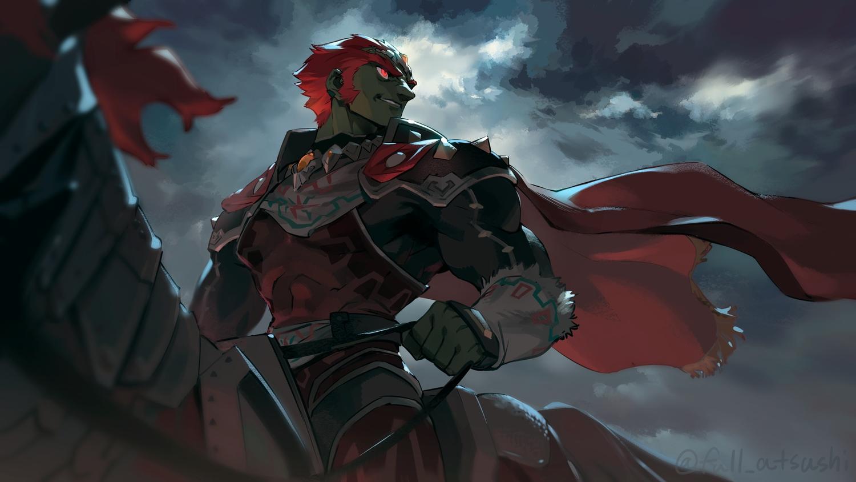 all_male animal blanco026 cape clouds dark_skin ganondorf horse male red_eyes red_hair short_hair sky the_legend_of_zelda
