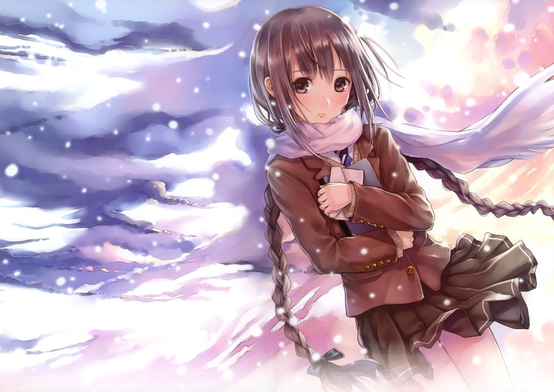 Sad anime girl with brown hair and brown eyes