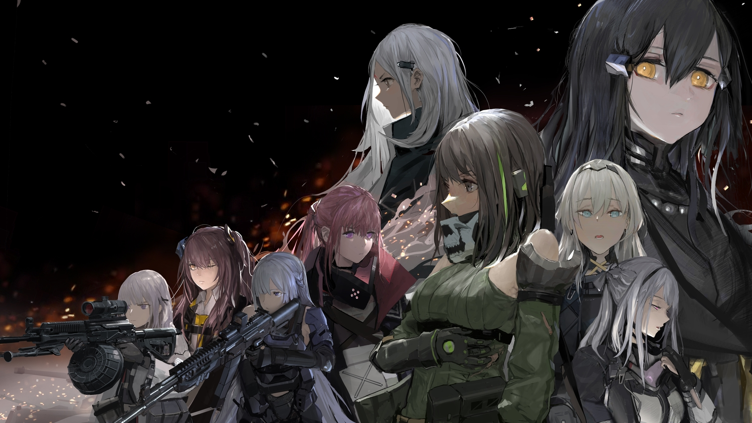 ak12_(girls_frontline) ak15_(girls_frontline) an94_(girls_frontline) anthropomorphism elisa_(girls_frontline) girls_frontline group gun m4a1_(girls_frontline) nyto_black_(girls_frontline) paindude rpk-16_(girls_frontline) st_ar-15_(girls_frontline) ump-45_(girls_frontline) weapon