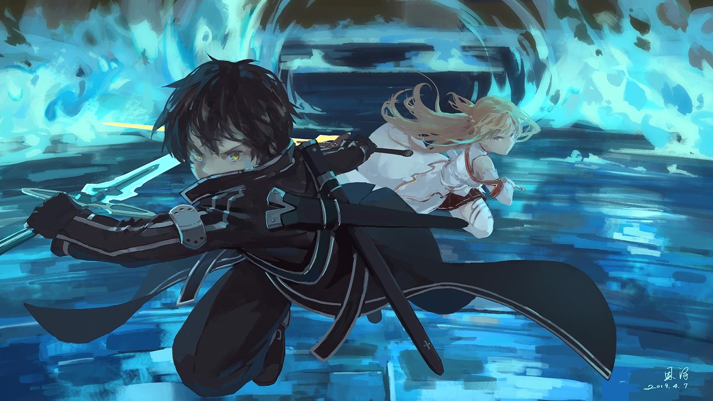 armor black_hair blonde_hair gloves kirigaya_kazuto long_hair male short_hair sword sword_art_online thighhighs weapon xiaobanbei_milk yellow_eyes yuuki_asuna