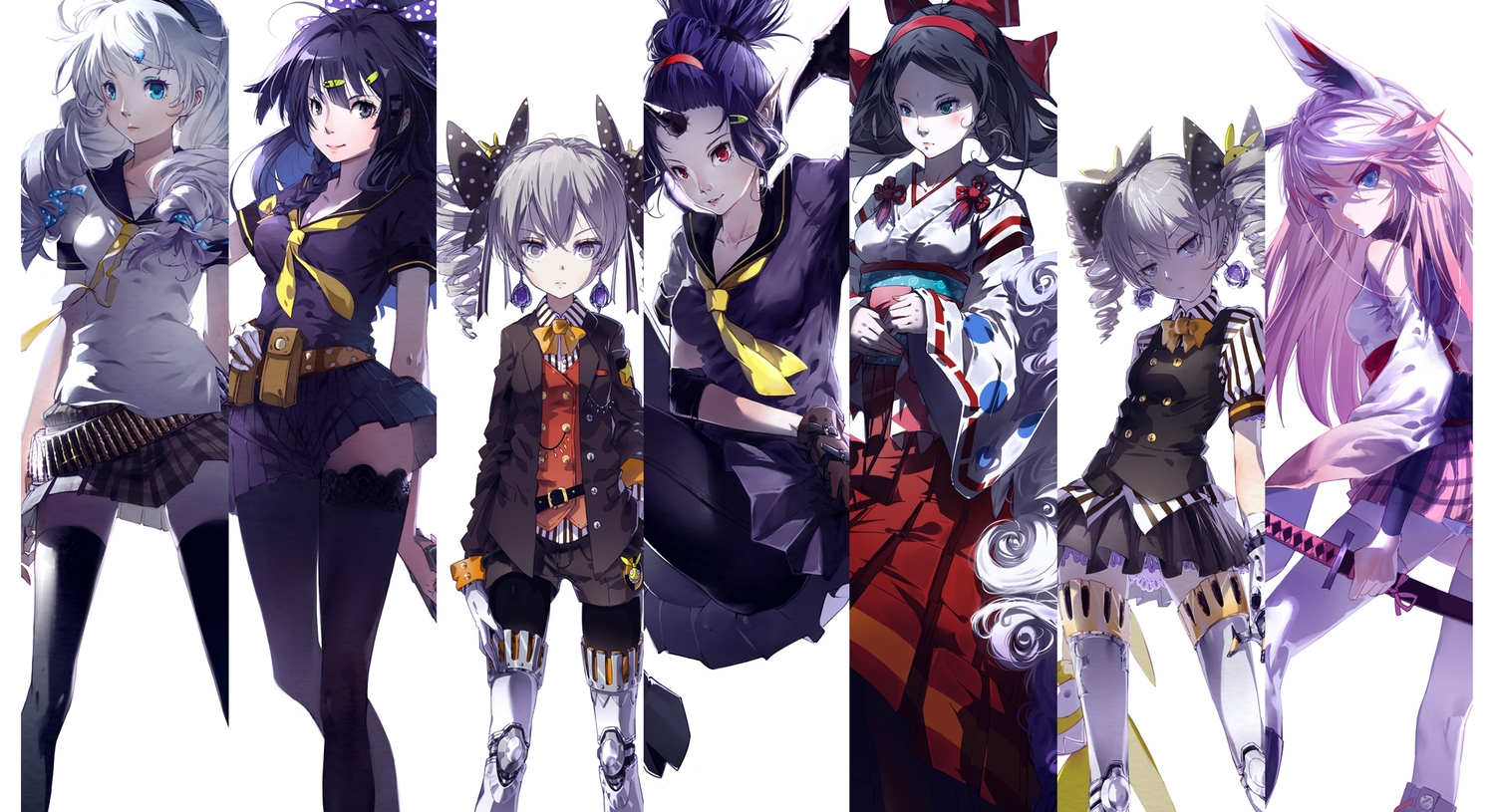 animal_ears black_hair blue_eyes blue_hair bronya_zaychik bunny_ears bunnygirl cici gloves headband honkai_impact horns katana kiana_kaslana long_hair original pink_hair pointed_ears raiden_mei red_eyes school_uniform skirt sword tagme_(character) thighhighs twintails weapon white_hair yae_sakura_(benghuai_xueyuan) zettai_ryouiki