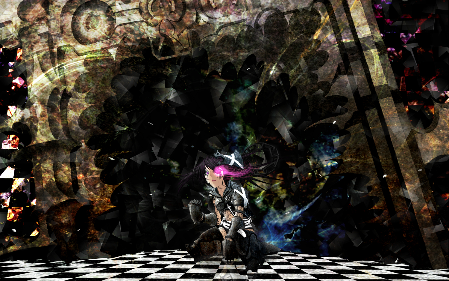 7f4df451 armor black_hair black_rock_shooter insane_black_rock_shooter purple_eyes