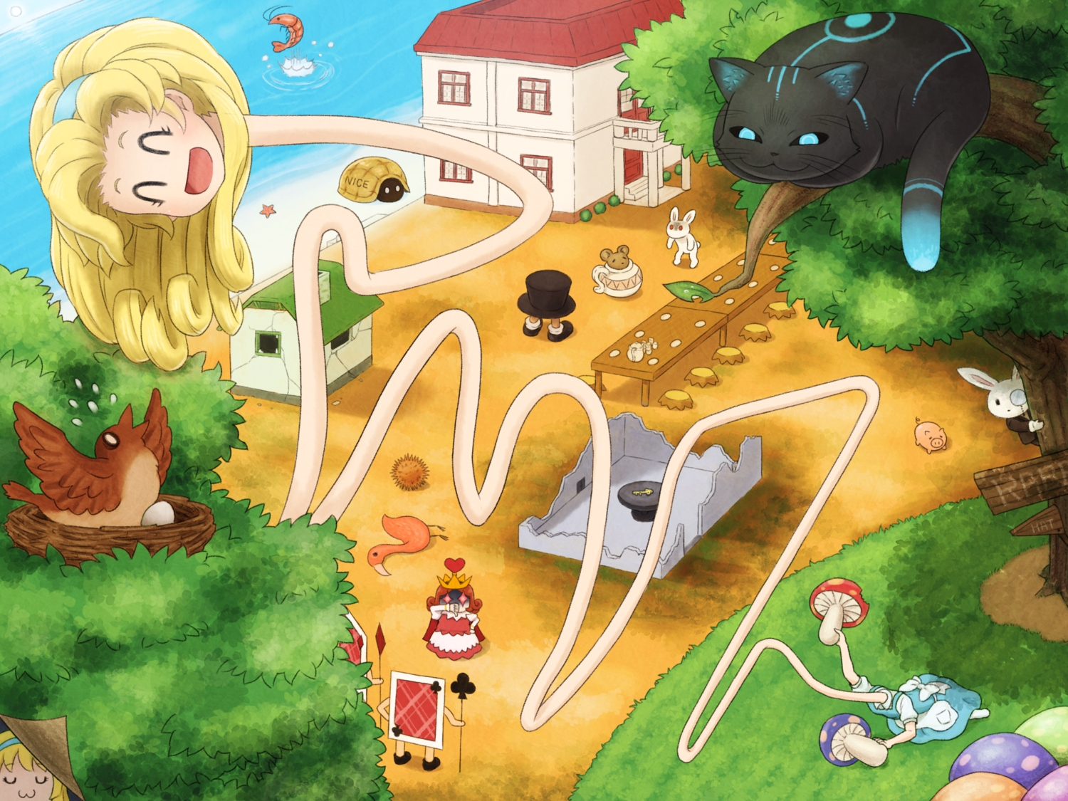 alice_in_wonderland alice_(wonderland) animal bird blonde_hair building cape cat cat_smile cheshire_cat crown food glasses hat headband long_hair mouse queen_of_hearts rabbit red_hair shirosato tree turtle water white_rabbit
