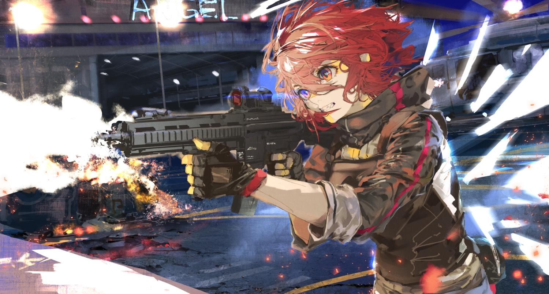 arknights exusiai_(arknights) fire gloves gun halo kiriyama orange_eyes red_hair short_hair sketch weapon wings