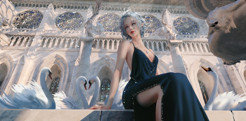animal bird dress ghostblade gray_hair necklace pointed_ears princess_yan realistic tiara wlop