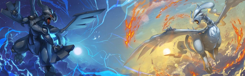 clouds dragon dualscreen fire moon nobody pokemon reshiram sky spareribs stars sunset zekrom