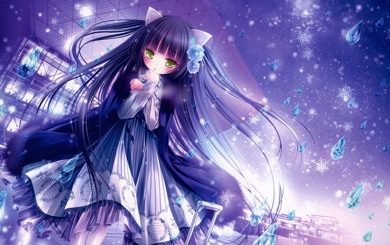 animal_ears black_hair blue building catgirl dress loli lolita_fashion long_hair scan tinkle yellow_eyes