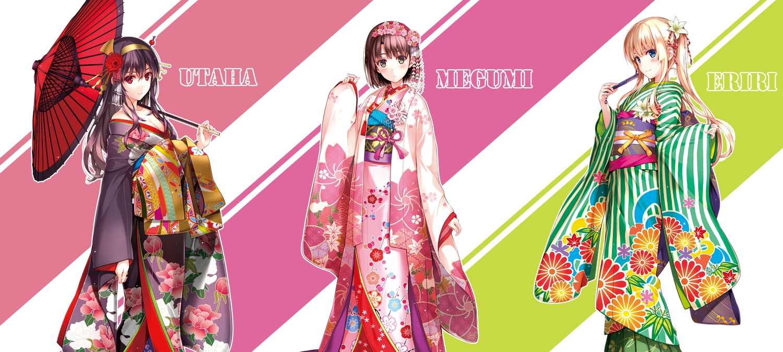 aliasing breasts cleavage japanese_clothes kasumigaoka_utaha katou_megumi kimono misaki_kurehito saenai_heroine_no_sodatekata sawamura_spencer_eriri umbrella