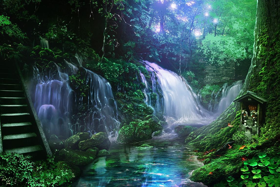 monorisu nobody original scenic shrine stairs tree water waterfall