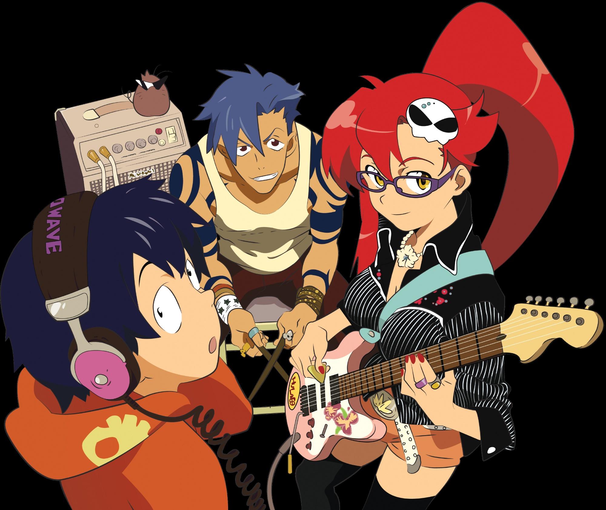 boota guitar headphones instrument kamina male simon tagme tagme_(artist) tengen_toppa_gurren_lagann yoko_littner