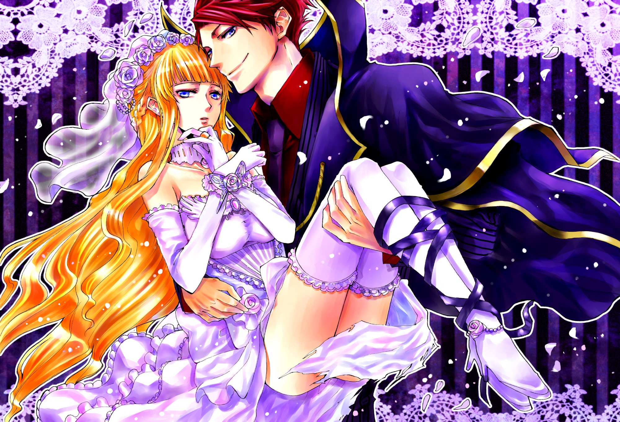 beatrice thighhighs umineko_no_naku_koro_ni ushiromiya_battler wedding_dress