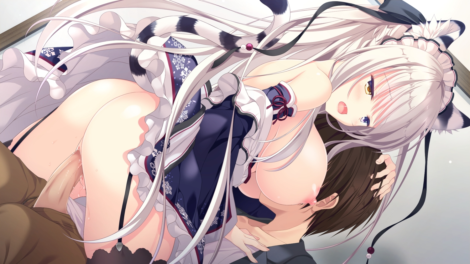 animal_ears bicolored_eyes blush breasts brown_hair catgirl game_cg ishikawa_shana long_hair male neko-nin_exheart nipples no_bra penis sex short_hair tail takano_yuki thighhighs uncensored whirlpool white_hair