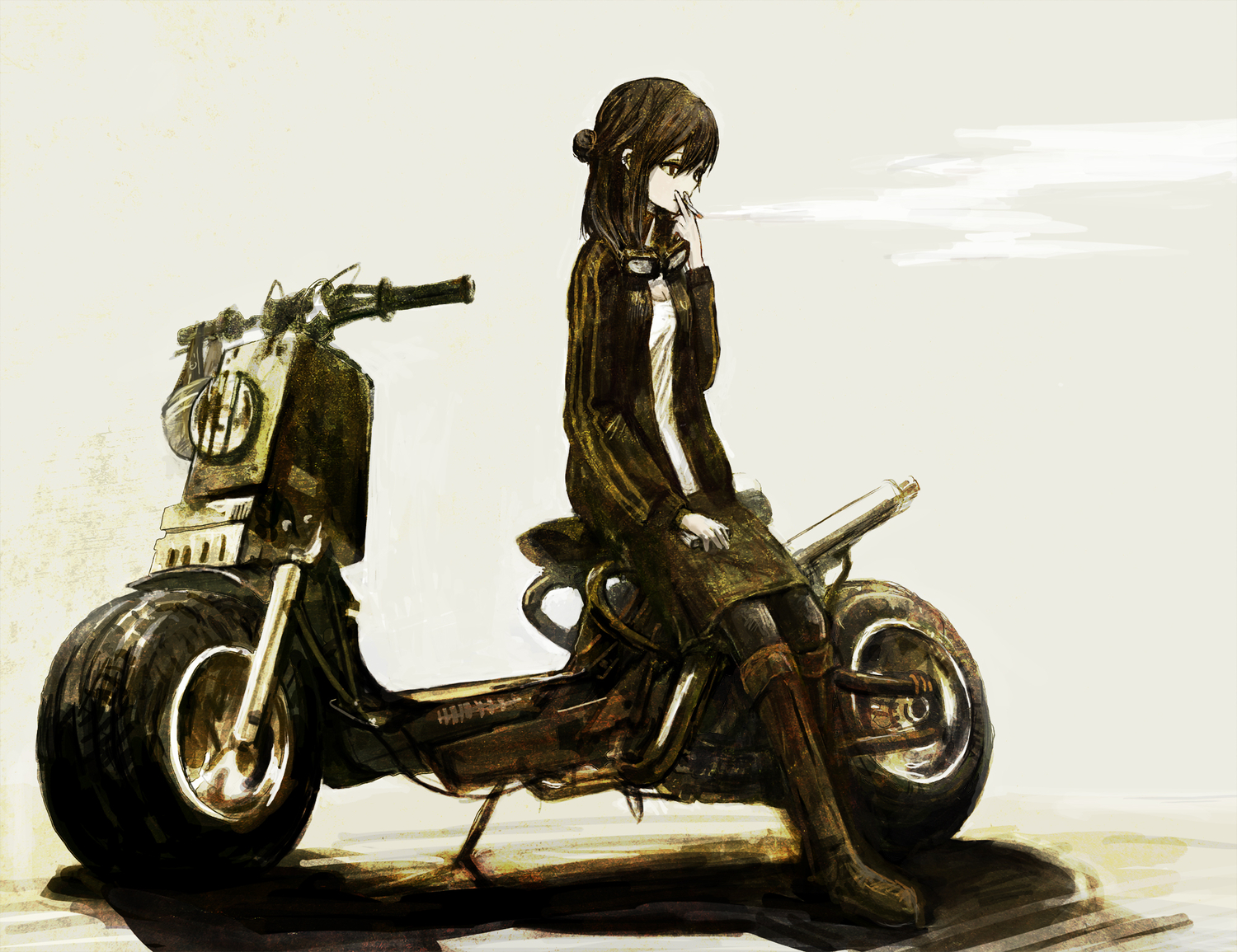 black_eyes black_hair cigarette goggles long_hair motorcycle original smoking toi_(number8)