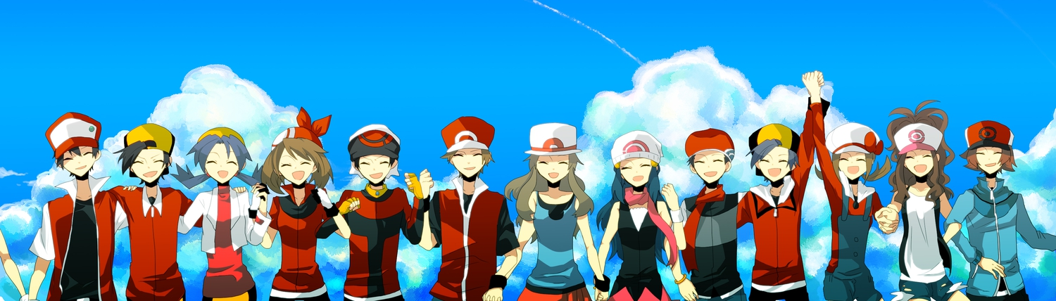 araragi_shion black_hair blue_hair brown_hair clouds group haruka_(pokemon) hat hibiki hikari_(pokemon) kotone_(pokemon) kouki_(pokemon) kris_(pokemon) leaf_(pokemon) nintendo pokemon red_(pokemon) sky touko_(pokemon) touya_(pokemon) yuuki_(pokemon)