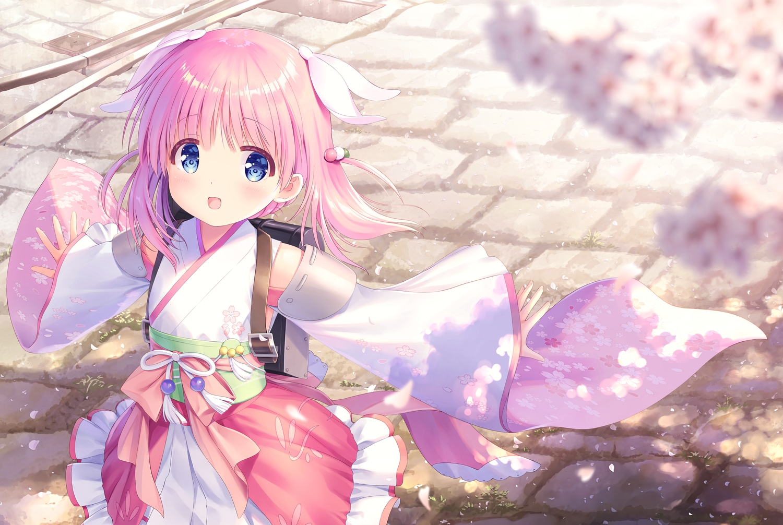 blue_eyes haizakura_(prima_doll) japanese_clothes loli na-ga petals pink_hair prima_doll