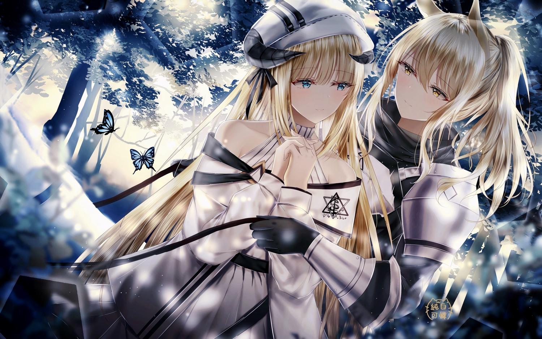 2girls animal_ears arknights blonde_hair butterfly jpeg_artifacts junpaku_karen long_hair nearl_(arknights) nightingale_(arknights) shoujo_ai