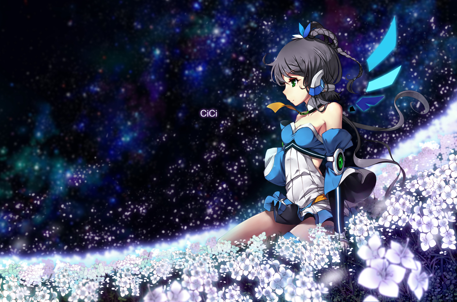 black_hair cici flowers luo_tianyi sky space stars tie vocaloid