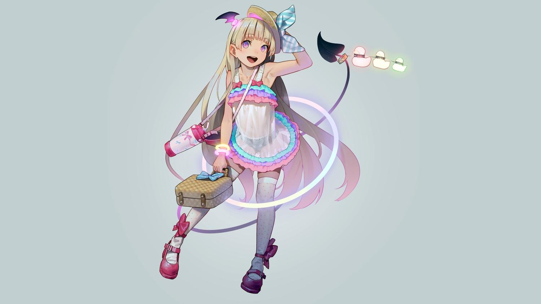 blonde_hair boots demon dress hat kagamine-ikka loli long_hair original purple_eyes see_through succubus tail thighhighs