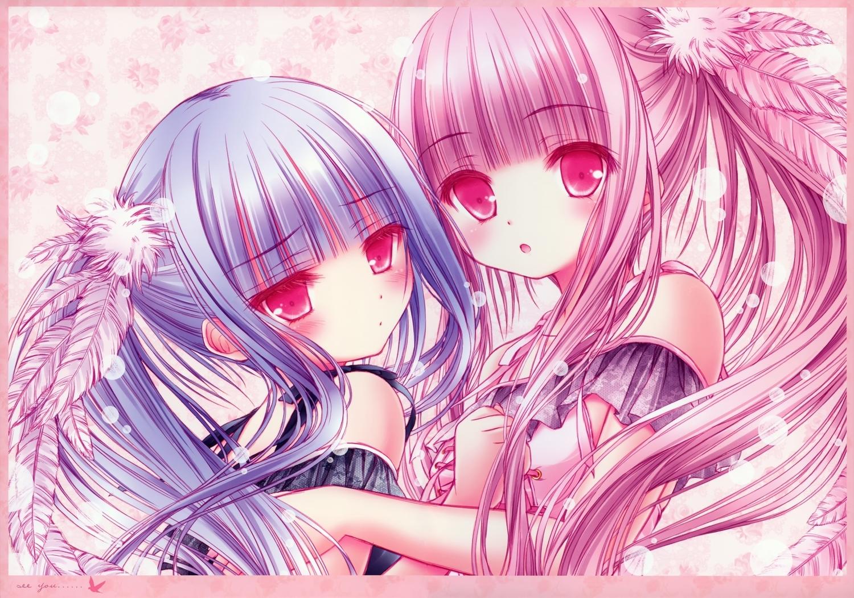 2girls blue_hair lolita_fashion long_hair original pink_eyes pink_hair scan tinkerbell tinkle