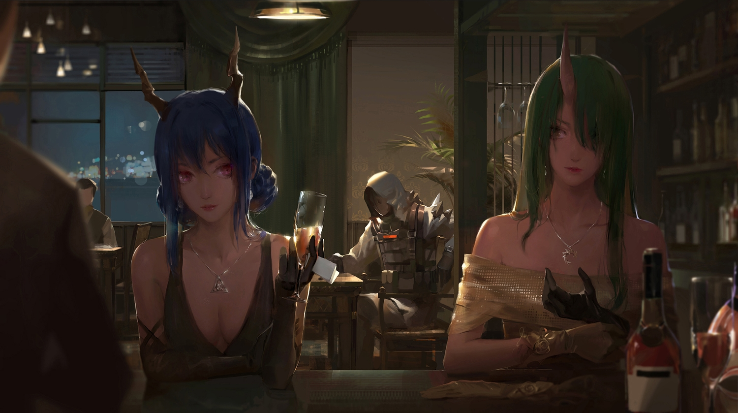 a-m-one arknights blue_hair breasts ch'en_(arknights) cleavage drink elbow_gloves gloves green_hair group hoodie horns hoshiguma_(arknights) mask necklace paper pink_eyes realistic yellow_eyes