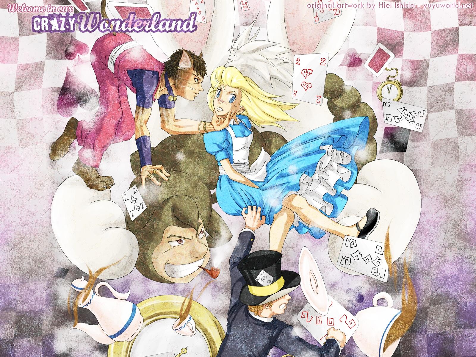 alice_in_wonderland alice_(wonderland) animal_ears blonde_hair catboy cheshire_cat dress drink hat hiei_ishida mad_hatter signed tail