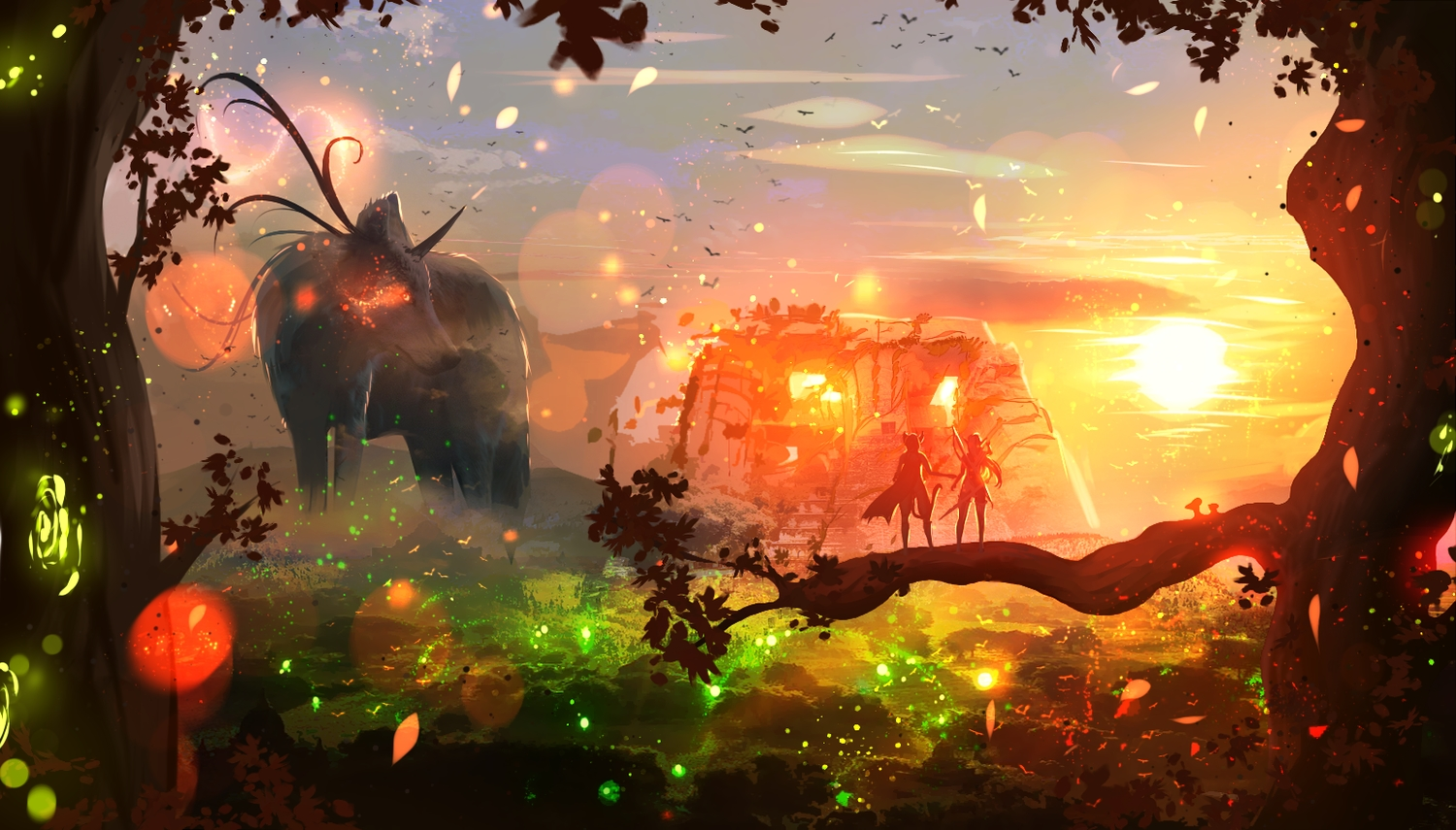 animal bow_(weapon) cape landscape leaves long_hair original pointed_ears ryky scenic skirt sunset tree weapon wolf