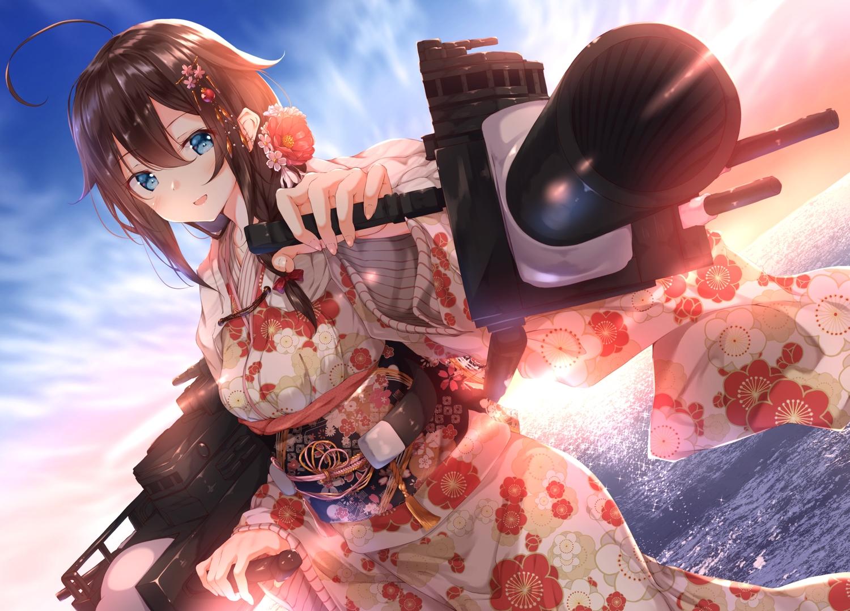 anthropomorphism aqua_eyes brown_hair clouds japanese_clothes kantai_collection long_hair numpopo shigure_(kancolle) sky water weapon