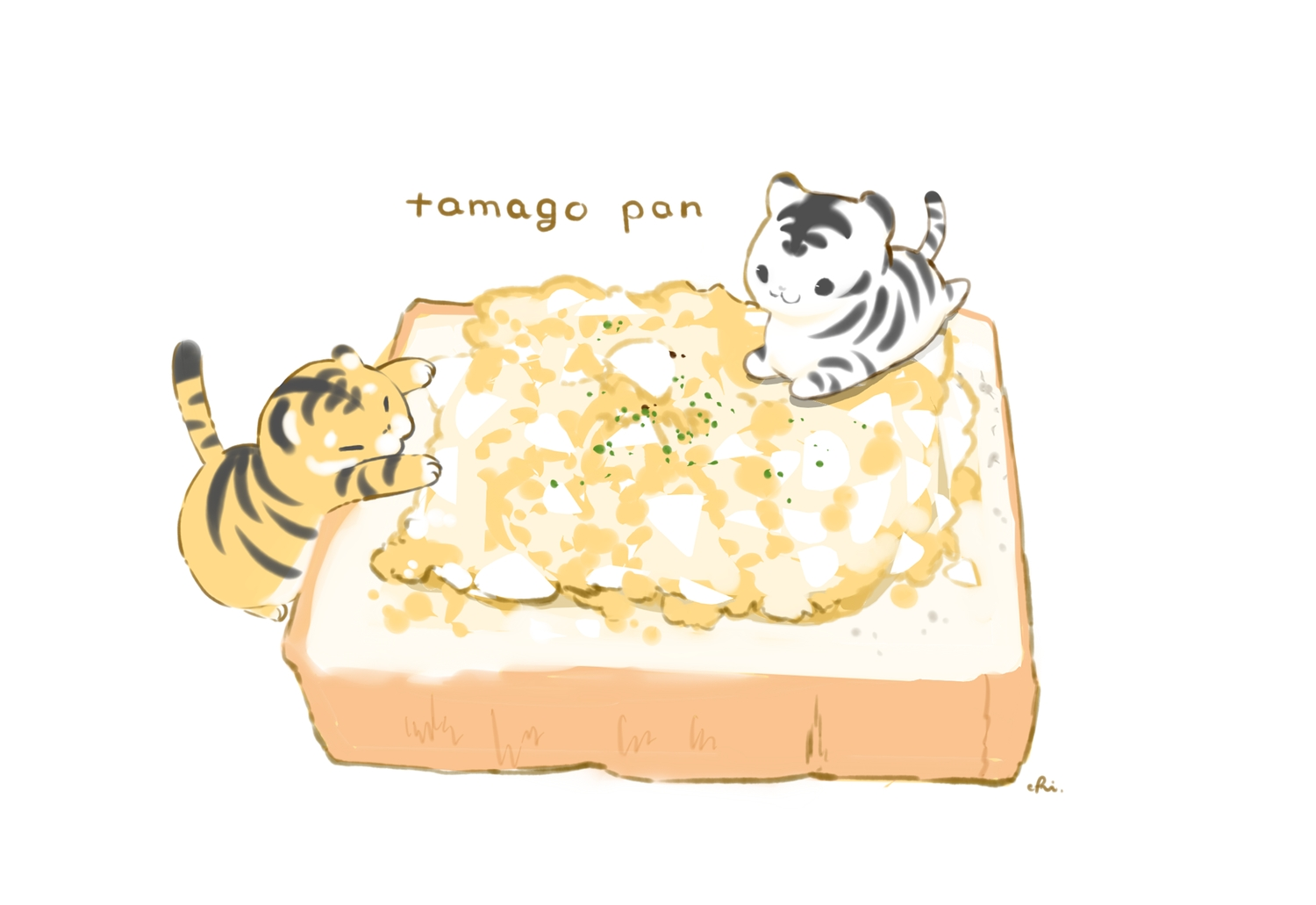 animal chai_(artist) chibi food nobody original polychromatic signed tiger white