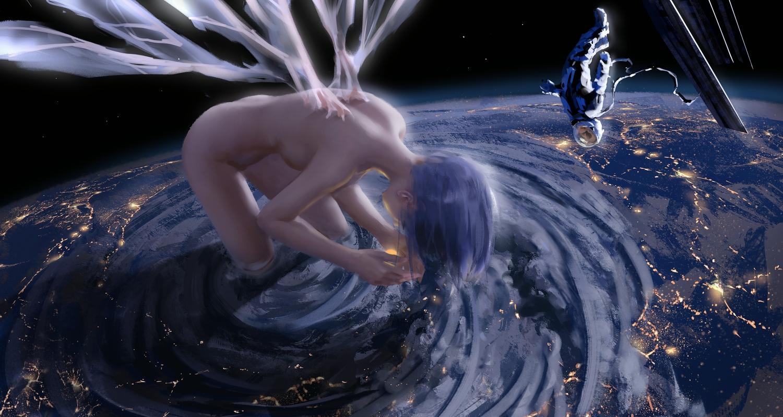ayanami_rei bodysuit clouds earth neon_genesis_evangelion nude planet space wings wlop