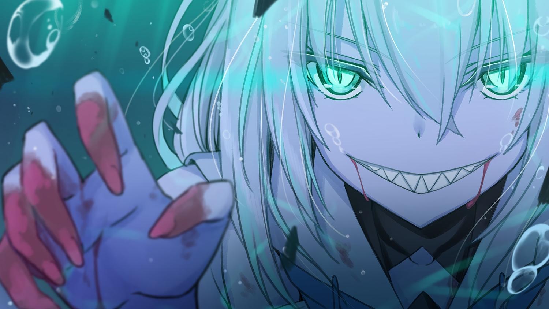 blonde_hair blood bubbles close denken fang green_eyes hololive shirakami_fubuki underwater water