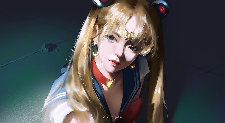 blue_eyes choker g-tz headband long_hair parody realistic sailor_moon school_uniform tsukino_usagi twintails watermark