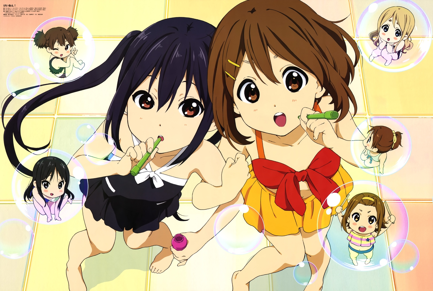 akiyama_mio barefoot bikini black_hair blush brown_eyes brown_hair bubbles chibi group hirasawa_ui hirasawa_yui k-on! kotobuki_tsumugi long_hair nakano_azusa scan short_hair skirt suzuki_jun swimsuit tagme_(artist) tainaka_ritsu twintails wink