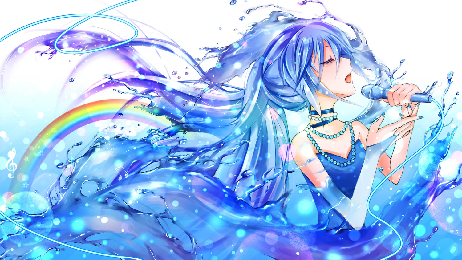 blue_hair chaperu_(mukuone) hatsune_miku jpeg_artifacts microphone rainbow vocaloid water