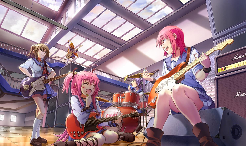 angel_beats! drums guitar hisako instrument irie_miyuki iwasawa_masami school_uniform sekine_shiori tazu yui_(angel_beats!)