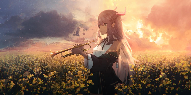 horns instrument long_hair original pointed_ears sagiri_(ulpha220) sunset