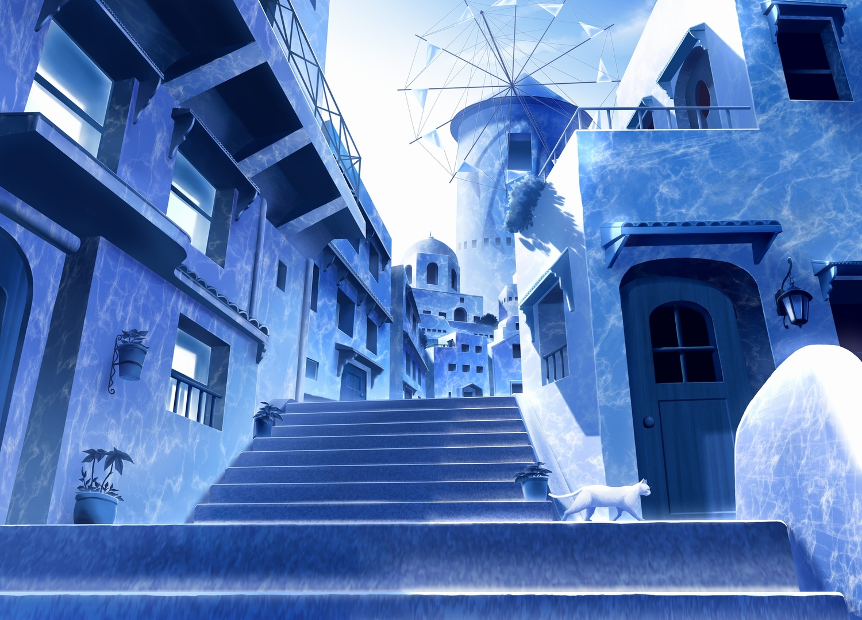 animal blue building cat gensuke monochrome nobody original scenic stairs