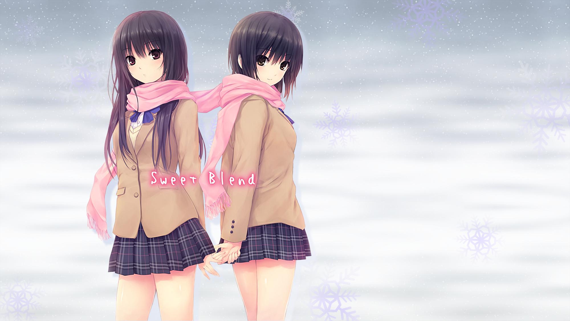 2girls aoyama_sumika black_hair brown_eyes coffee-kizoku long_hair original purple_eyes scarf school_uniform shiramine_rika short_hair skirt snow