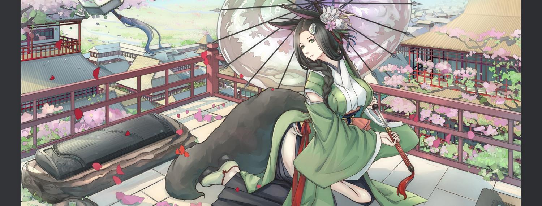 animal_ears black_eyes black_hair building city foxgirl japanese_clothes katana kikivi long_hair original petals sword tail weapon