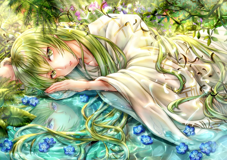 all_male enkidu fate/grand_order fate_(series) green_eyes green_hair long_hair male reflection tamaso